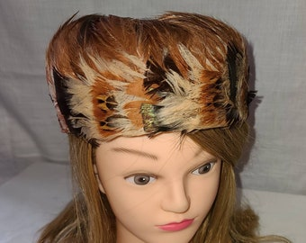 Vintage Feather Hat 1950s 60s Round Cream Rust Brown Feather Hat Boho 22 in.