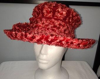 Vintage Straw Hat Large 1950s 60s Straw Hat Wide Brim Velvet Bow Unique Summer Hat Coralie 21 in.