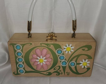 Vintage Enid Collins Purse 1960s Jeweled LOVE Wood Box Purse Pastel Jewels ec Collins of Texas Designer Rockabilly Boho