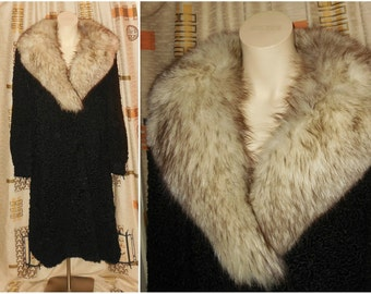 SALE Vintage Fur Coat 1970s Long Black Persian Lamb Fur Coat Huge Fox Fur Collar Fur Beautiful Lining Must See! Boho Fur M L chest to 41