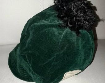Unworn Vintage Childs Hat 1930s 50s Green Velvet Hat Cap Tam Pom Pom NWT German Art Deco 18.5 in.