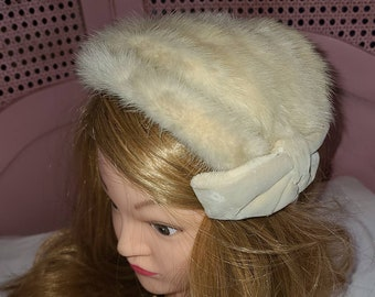 Vintage Mink Fur Hat 1950s Cream Mink Fur Half Hat Satin Ribbons Rockabilly Wedding Bridal