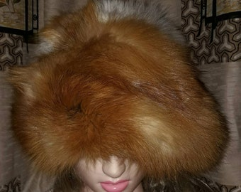 Vintage Fur Hat Oversize Huge Poufy Red Fox Fur Hat 1960s 70s Boho 23 inches