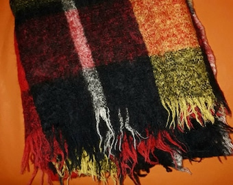Vintage Mohair Blanket 1950s 60s German Plaid Mohair Wool Throw Red Yellow Black Fringed 50er 60er Decke Karo Rockabilly 69 x 58 in.