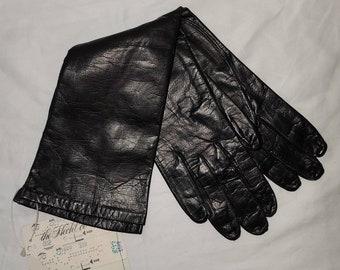 Unworn Vintage Gloves 1960s Midlength Black Kid Leather Gloves NWT Van Raalte Rockabilly Pinup Fetish 6 1/2