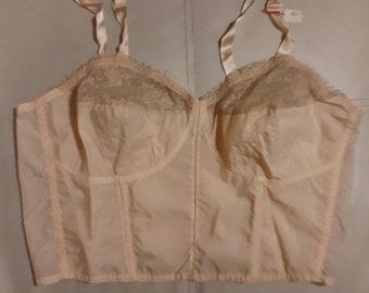 DEADSTOCK Vintage Bra 1950s Pink Semi Sheer Nylon Lace Longline Bra Unworn NWT Lady Paris France Rockabilly Pinup chest 41 in. C cup