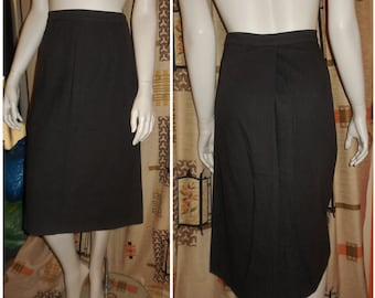 Vintage 1950s Pencil Skirt Dark Gray Wool Slim Skirt Rockabilly Pinup S M waist to 28 inches