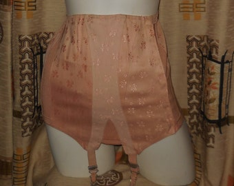 Vintage 1950s Girdle Unworn Pink Open Bottom Girdle Embroidered Cotton Blend Metal Boning Garters Pinup Rockabilly EUR 76 Medium
