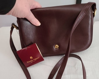 Unused Vintage Designer Purse Small Etienne Aigner Classic Collection Oxblood Leather Shoulder Strap Purse 1998 NWT Boho