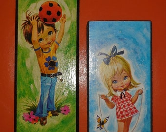 Pair of Vintage 1960s 70s Big Eye Kids Wall Plaques Small Pictures Wall Hangings German Pop Mod Go Go Jump Rope Soccer Ball 10 x 4 inches