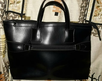 Vintage 1960s Large Purse Black Vinyl Tote Bag Front Zipper Pocket Top Zip Closure German Mod Boho