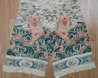 Vintage Silk Scarf Japan Carp Pattern Museum of Fine Arts Boston Hand Rolled Edges Long Scarf
