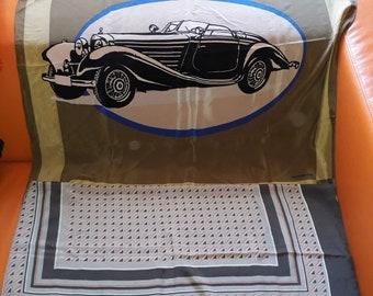 SALE Lot of 2 Vintage Silk Scarves German Auto Motif Large Mercedes Benz Brown Silk Scarf Classic Car Audi Gray Geo Print Scarf