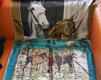 Lot of 2 Vintage Silk Scarf 1950s Silk Satin Equestrian Hunting Motif Scarf Large Horse Heads Boho 30 x 30 in.