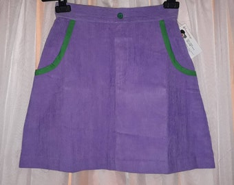 Unworn Vintage Miniskirt 1970s 80s Light Purple Corduroy Skirt Bright Green Accents German Boho S