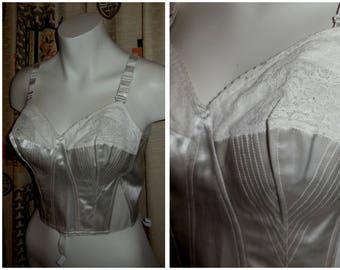 Vintage Bra 1950s White Satin Lace Bullet Bra Felina Atlas Longline Bra Pinup Rockabilly Wedding Bridal Lingerie Med 38B 85 B