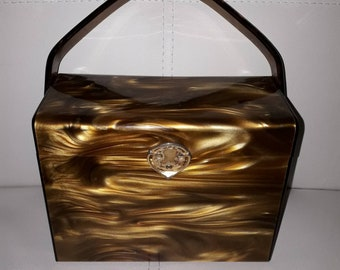 Vintage Lucite Purse 1950s Amber Tortoiseshell Unsigned Willoughby Rockabilly missing ornament