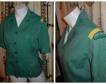 Vintage Girl Scout Blouse 1950s 60s Troop Leader Blouse Green Girl Scout Shirt Top Rockabilly M chest to 38 in armpit marks