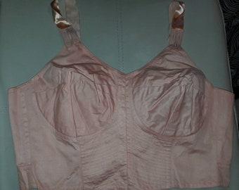 Unworn Vintage Bra 1950s 60s Cotton Circular Stitch Front Fasten Back Lacing Rockabilly Pinup XL 44 C