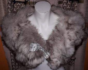 Vintage Fox Fur Stole 1950s Soft Fluffy White Fox Fur Wrap Cape Dark Markings Satin Bow Pinup Glamour Wedding 35 in. long