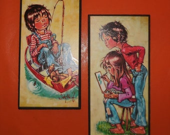 Pair of Vintage 1960s 70s Big Eye Kids Wall Plaques Small Pictures Wall Hangings German Pop Mod Go Go Fishing Painting 10 x 5 inches