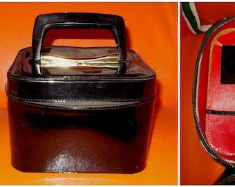 Vintage 1950s 60s Train Case Small Square Shiny Black Vinyl Cosmetic Case Travel Case Makeup Case Kosmetikkoffer German Rockabilly
