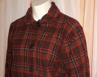 Vintage Women's Jacket 1940s 50s Brown Orange Plaid Wool Shirt Top Large Buttons Flap Pockets Sears Kerrybrooke USA Rockabilly L