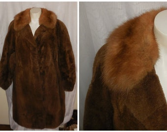 SALE Vintage Fur Coat 1960s Soft Brown Fur Coat Fluffy Mink Collar Boho Fur M chest to 42 in.