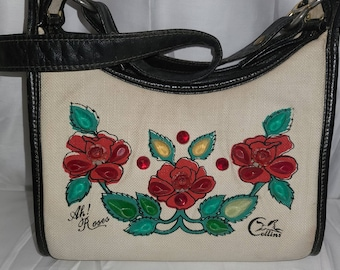 Vintage Enid Collins Purse 1970s Jeweled Floral Leather Shoulder Strap Canvas Bag Ah! Roses ec Purse Designer Boho