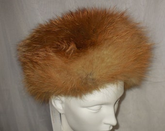 SALE Vintage Fur Hat 1960s 70s Red Fox Fur Oversize Pillbox Pouf Cossack Hat Boho Apres Ski 22 22.5 inches