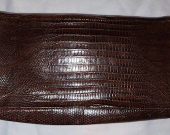 Vintage Lizard Clutch 1940s Brown Reptile Snake Leather Wallet Art Deco Rockabilly 8 x 4.5 in.