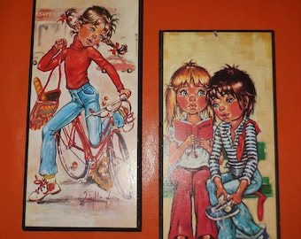 Pair of Vintage 1960s 70s Big Eye Kids Wall Plaques Small Pictures Wall Hangings German Pop Mod Go Go Reading Bicycle 10 x 5 inches