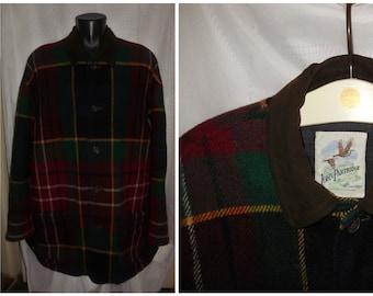 SALE Vintage Men's English Hunting Jacket Plaid Wool Brown Suede Collar John Partridge Country Handmade Rockabilly L