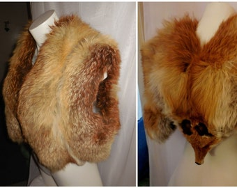 Vintage Fox Fur Stole 1930s Large Fluffy Red Fox Fur Wrap Unique Round Arms Butterfly Style Stole Head on Back Glamour Art Deco Flapper