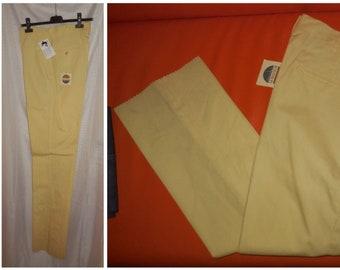 SALE Vintage Men's Pants 1960s Unworn Thin Yellow Cotton Poly Blend Dress Pants NWT Koratron Rockabilly Mod M waist to 32 in.