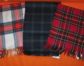 SALE Lot of 3 Vintage Wool Scarf Men's Plaid Wool Fringe Scarves Red Green Blue Rockabilly 50.5 inches long