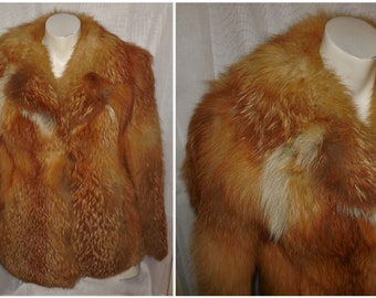 Vintage Fur Coat 1970s Fluffy Red Fox Fur Jacket Beautiful Coloring Patterned Lining Boho Fur Jacket S M chest to 38 in.
