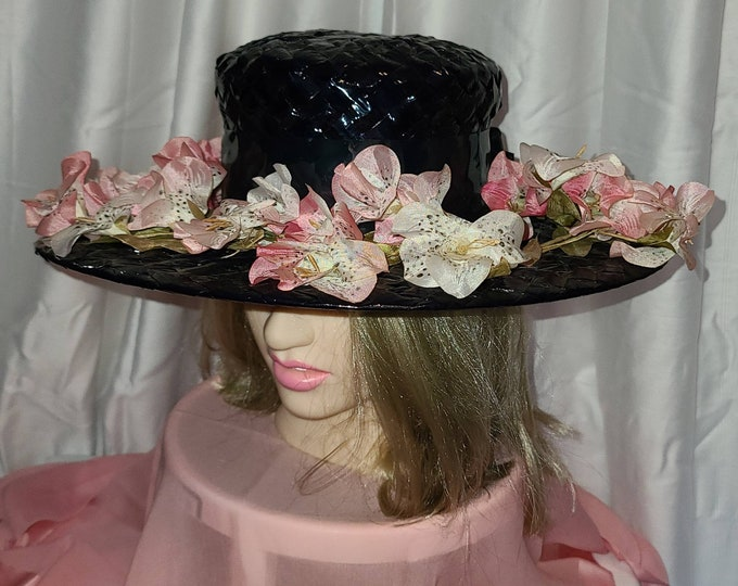 Featured listing image: Vintage Floral Hat Large 1960s Round Wide Brim Black Shiny Straw Cartwheel Hat Pink White Silk Flowers Rockabilly Boho 20 in.