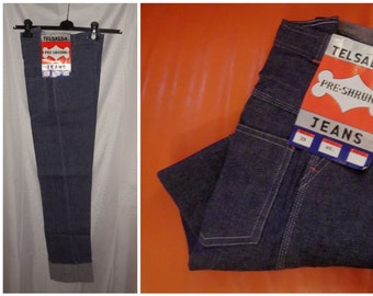 DEADSTOCK Vintage Jeans 1960s 70s Telsalda Unworn UK Denim Jeans Large Cuffs NWT Mod Rockabilly 28 x 39.5 in. or 30 x 44 in.