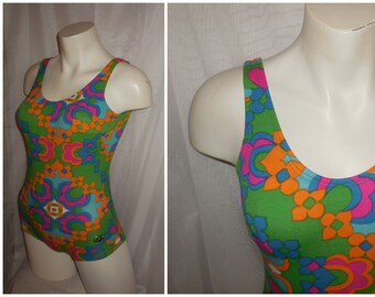 SALE Vintage 1960s 70s Bathing Suit Bright Multicolor Psychedelic Floral Print One Piece Swimsuit Mod Boho S chest to 36 inches