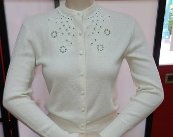Vintage 1950s Sweater Thin Cream White Orlon Acrylic Cardigan Sweater Rhinestone Bead Trim Rockabilly S chest 37 in.