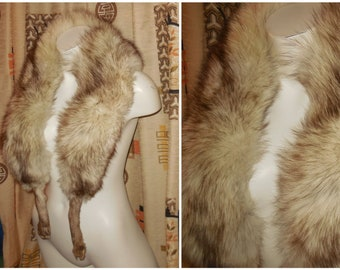 Vintage Fox Fur Stole 1950s White Fox Stole Collar Dk Brown Tips Silver Fox Fur Wrap legs Glamour Starlet Marilyn 51 in long