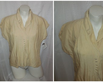 Vintage 1930s Blouse Beige Linen Rayon Blouse Top Buttons German Art Deco Rockabilly  L  chest to 39 in. some small flaws