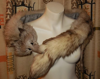 Vintage Fox Fur Stole Fluffy White Fox Stole Black Tips Silver Fox Fur Wrap Patterned Satin Lining Glamour Pinup Burlesque 43 in.