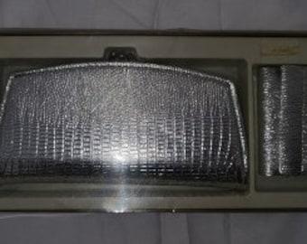SALE Unused Vintage Wallet Set 1960s Silver Metallic Foil Women's Wallet and Key Holder Key Wallet NIB Mod