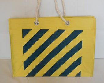 Vintage 1970s 80s Beach Bag Large Yellow Canvas Beach Tote Anchor Motif Rope Handles 20 in. wide Rockabilly New Wave