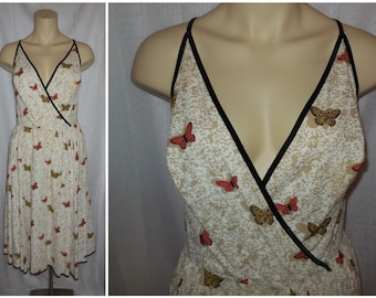 Vintage 1950s Dress Butterfly Print Sundress Pat Premo Lamplighter Light Cotton Full Skirt Velvet Trim Rockabilly M L waist to 30 in.