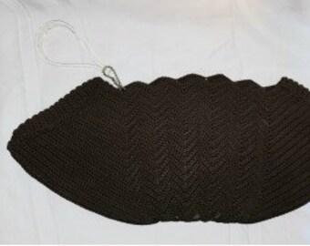 Vintage 1940s Purse Brown Crochet Clutch Handbag Carved Lucite Zipper Pull Rare Larger Size Art Deco Rockabilly