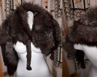 Vintage Fox Fur Stole 1930s 40s 50s Full Body Split Silver Fox Stole Wrap with Head Satin Lining Glamour Flapper Art Deco 46 in long