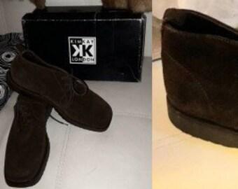 Vintage Men's Boots Dark Brown Suede Shoes Short Lace Up Boots W J Habbot English Models S M
